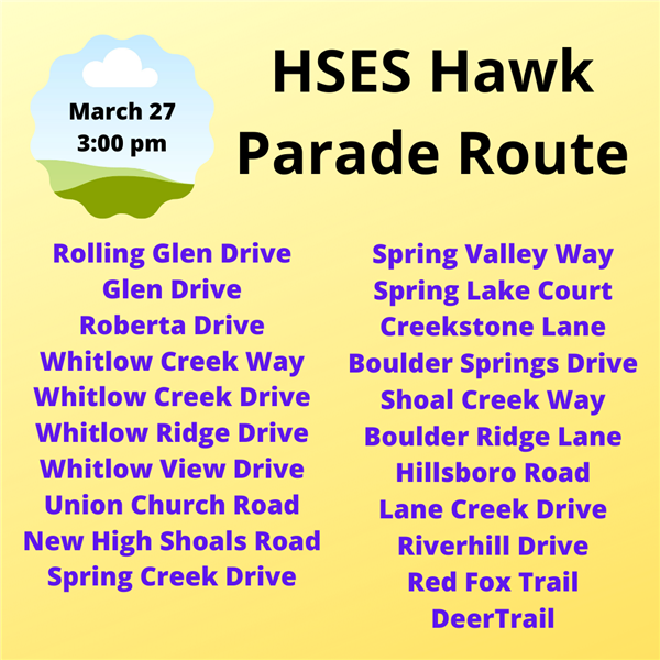 Hawk Parade Route Click for larger image